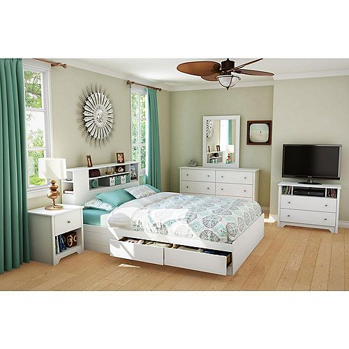 Bel Air, Full/Queen Bookcase Headboard, Pure White