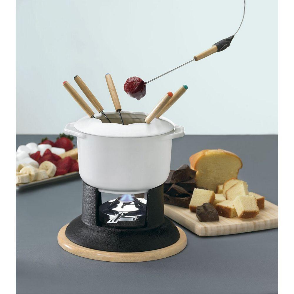 Cuisinart White Enamel Cast Iron Fondue Set  12-Piece