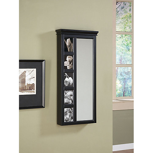 Serre-bijoux mural noir avec miroir et cinq cadres de photos