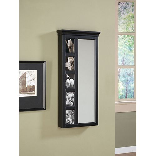 Black Jewelry Wall Storage Mirror with 5 Photo Frames