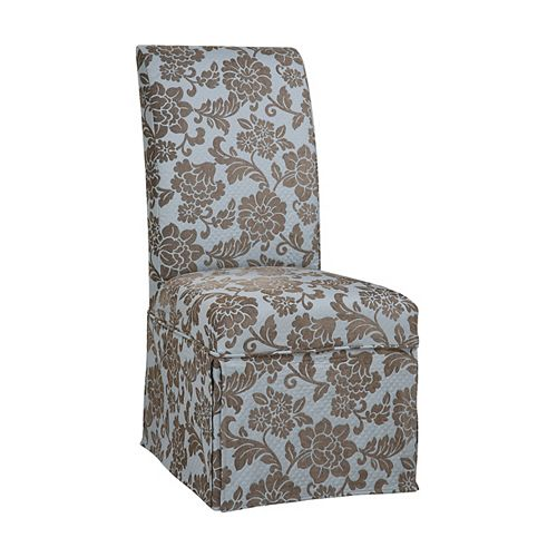 Quilted Powder Blue with Raised Brown Chenille Flowers Skirted Slip Over - Pack 1 (Fits 741-440 Chair)