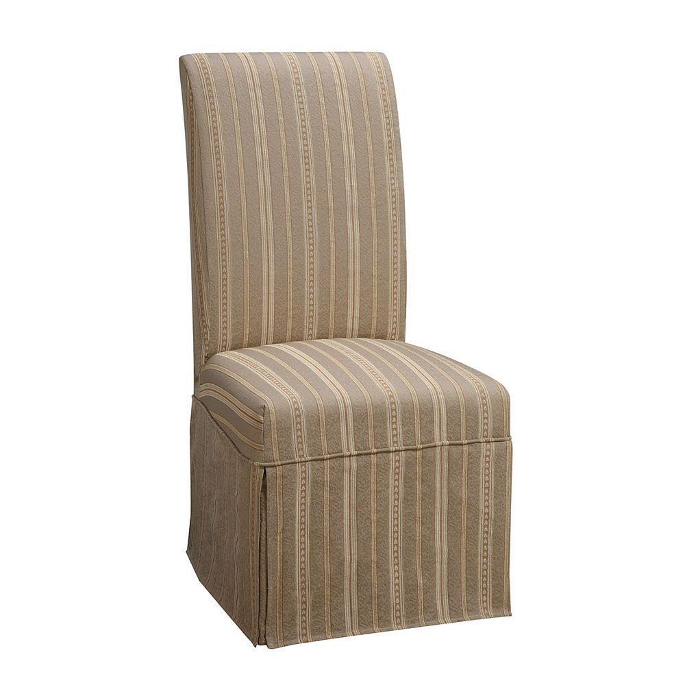 Powell Housse longue tissée de couleur taupe à rayures cuivre, or et blanc  paquet 1 (sagence à la chaise 741-440)