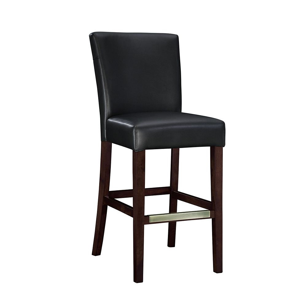 Powell Tabouret-bar en cuir semi-synthétique noir, hauteur du siège : 74,9 cm (29 ½ po)