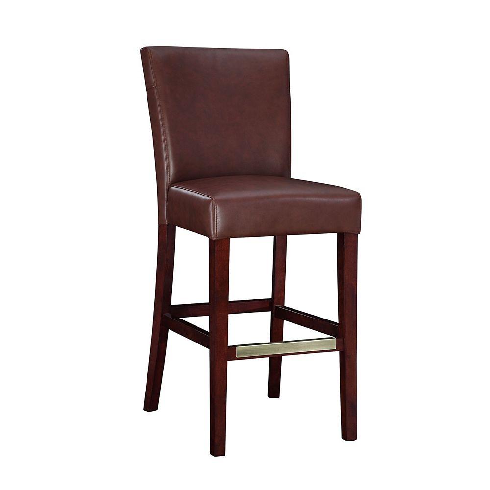 Powell Tabouret-bar en cuir semi-synthétique lie-de-vin, hauteur du siège : 74,9 cm (29 ½ po)