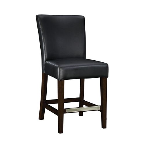 Black Bonded Leather Counter Stool, 24 Inch Seat Height