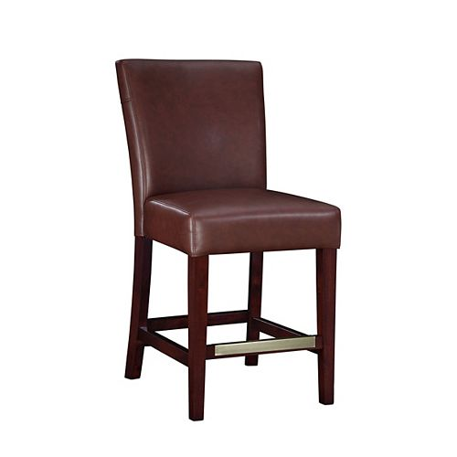 Wine Bonded Leather Counter Stool, 24 Inch Seat Height