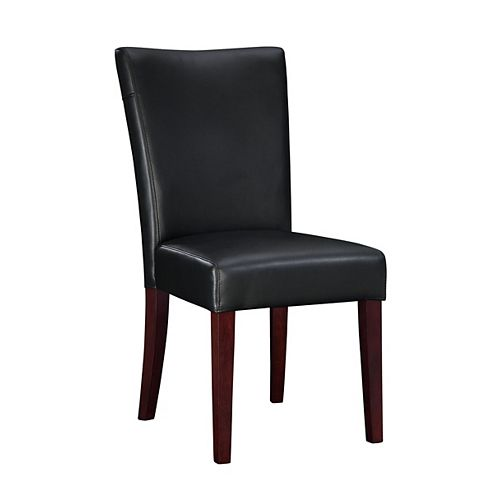 Black Bonded Leather Parsons Chair, 18-3/4 Inch Seat Height