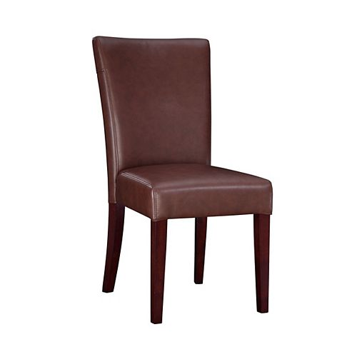Wine Bonded Leather Parsons Chair, 18-3/4 Inch Seat Height