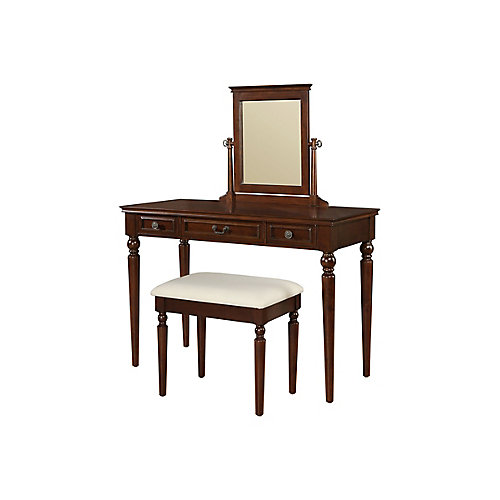 Marquis Cherry Vanity, Mirror & Bench