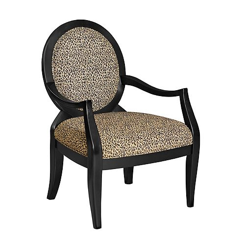 Leopard Traditional Occasional Polyester Accent Chair in Black with Animal Print Pattern