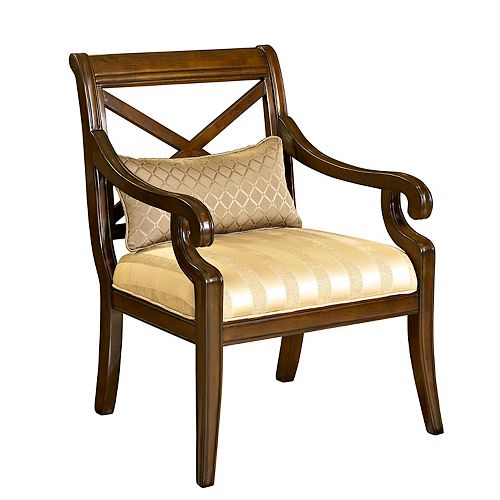 X Back Accent Chair with Small Pillow