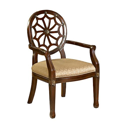 Spider Web Traditional Occasional Polyester Accent Chair in Mahogany with Geometrical Pattern