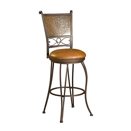 Bronze with Muted Copper Stamped Back Bar Stool, 30 Inch Seat Height