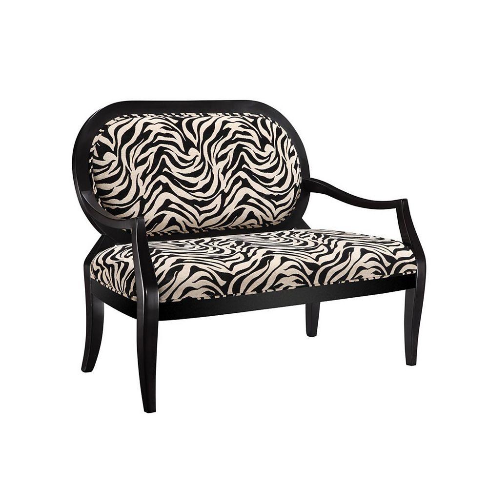 Powell Black Settee with Zebra Fabric