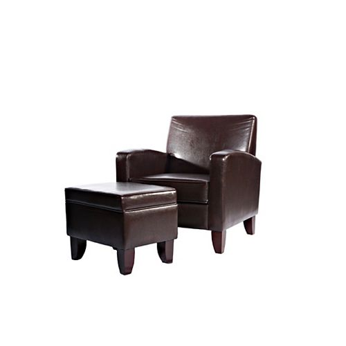 Brown Faux Leather Classic Lounge Chair and Storage Ottoman