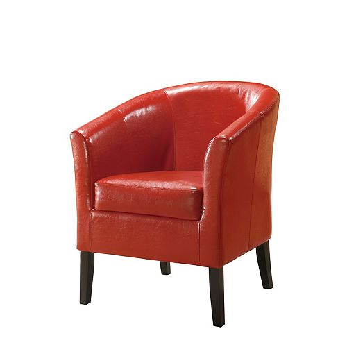 Simon Red Faux Leather Club Chair