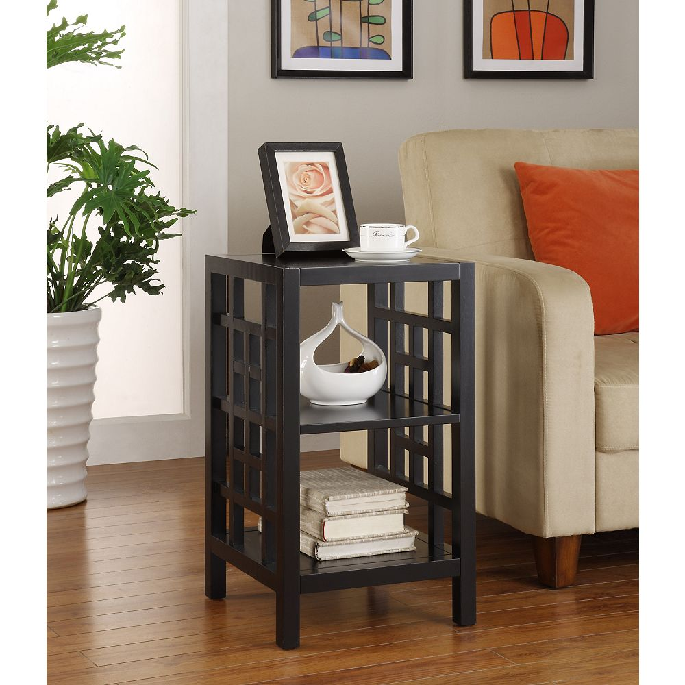 Powell Black Square Lattice Accent Table with Shelves
