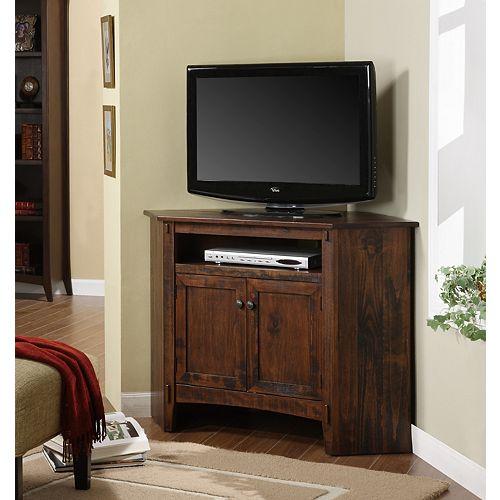 Rustic 2-Door Corner TV Stand