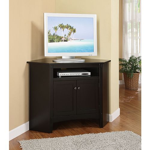 Black 2-Door Corner TV Stand