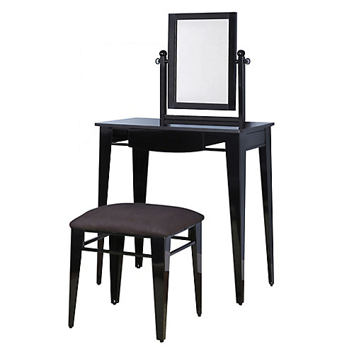 Gloss Black Vanity, Mirror & Bench