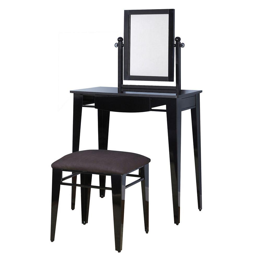 Powell Gloss Black Vanity, Mirror & Bench
