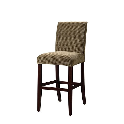 Brown & Tan Checked Chenille Slip Over for Counter Stool or Bar Stool - Pack 1