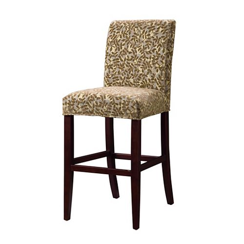 Blue Green, Red Tapestry with Raised Brown Chenille Leaves Slip Over for Counter Stool or Bar Stool - Pack 1