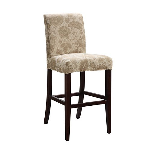 Woven Gold with Taupe Floral Pattern Slip Over for Counter Stool or Bar Stool - Pack 1