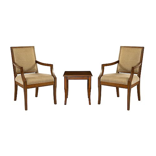 3-Piece Set - 2 Rect-Back Accent Chairs with 1 Light Cherry End Table
