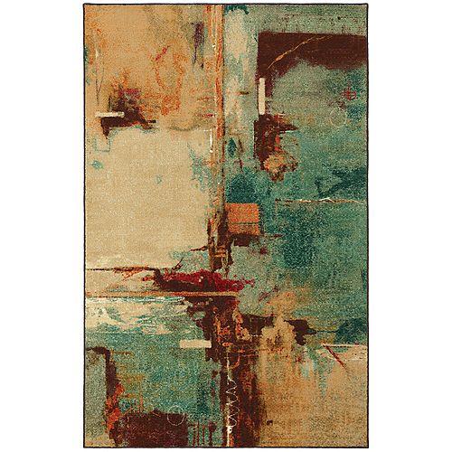Carpette d'intérieur, 5 pi x 8 pi, à poils longs, style contemporain, rectangulaire, multicolore Select Strata Aqua Fusion