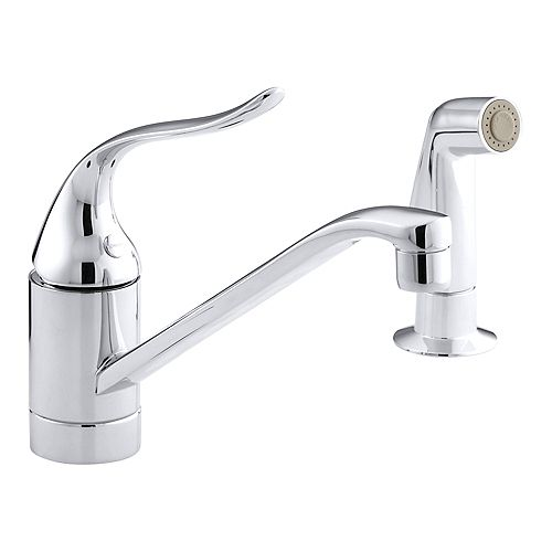 Coralais Single-Handle Kitchen Sink with Side Sprayer in Polished Chrome