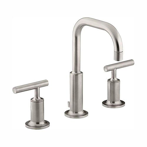 KOHLER Purist 8-inch Widespread 2-Handle Water-Saving Bathroom Faucet in Vibrant Brushed Nickel