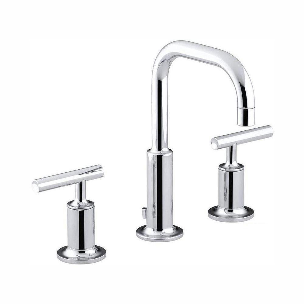 KOHLER Purist 8-inch Widespread 2-Handle Water-Saving Bathroom Faucet in Polished Crome