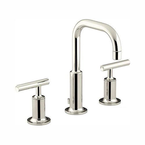 Purist 8-inch Widespread 2-Handle Water-Saving Bathroom Faucet in Vibrant Polished Nickel