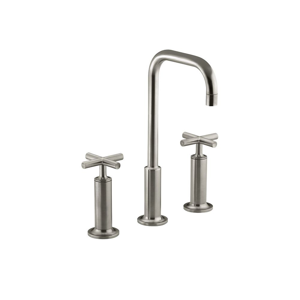 KOHLER Purist(R) widespread bathroom sink faucet with high cross handles and high gooseneck spout