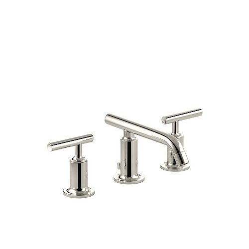 Purist(R) widespread bathroom sink faucet with low lever handles and low spout