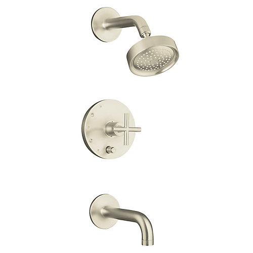 Purist(R) Rite-Temp(R) pressure-balancing bath and shower faucet trim with push-button diverter