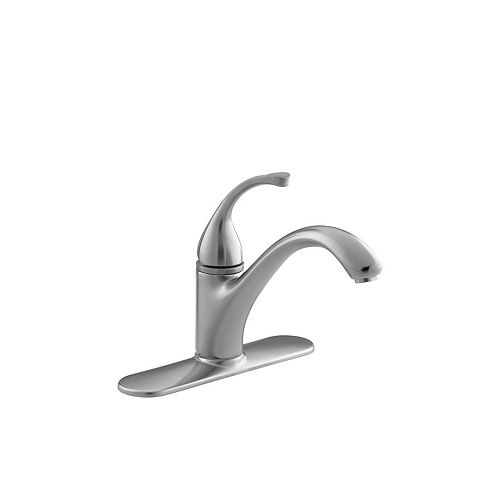 KOHLER Forté Single-Control Kitchen Sink Faucet With Escutcheon And Lever Handle In Brushed Chrome