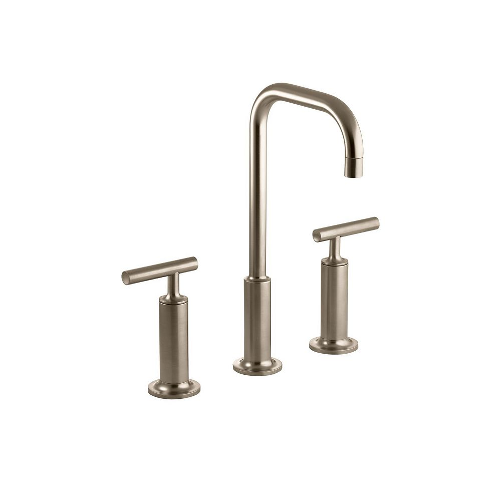KOHLER Purist(R) widespread bathroom sink faucet with high lever handles and high gooseneck spout