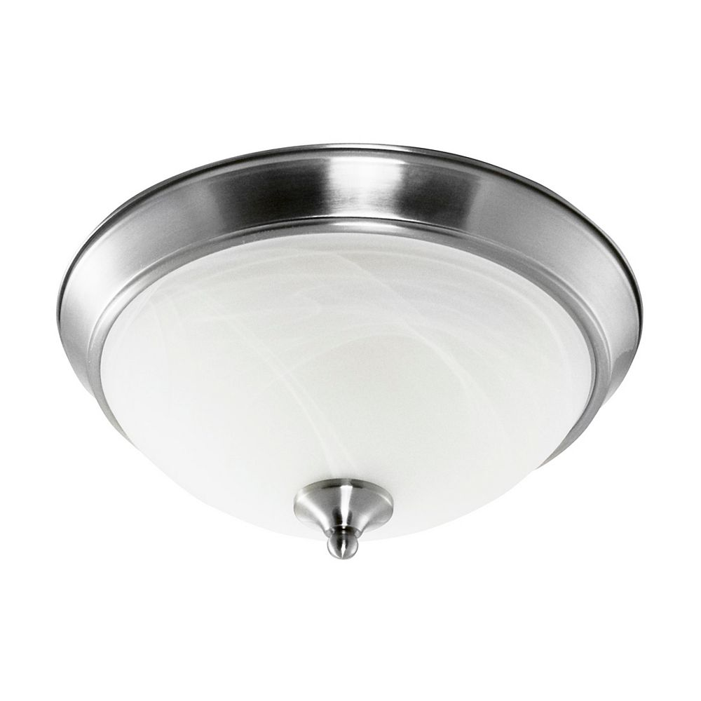 Efficient Lighting Contemporary Flushmount, Brushed Nickel Finish with Alabaster Glass