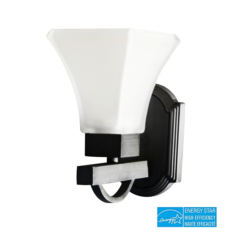 Efficient Lighting Contemporary Wall Sconce, Brushed Nickel Finish with Frosted Glass