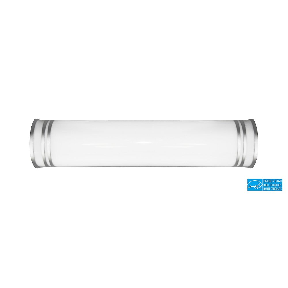 Efficient Lighting Contemporary Vanity Light, Brushed Nickel Accents with Acrylic Lens