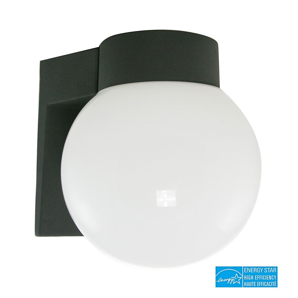 Efficient Lighting Simplicity Outdoor Wall Sconce, Die Cast Aluminum in Powder Coated Black Finish