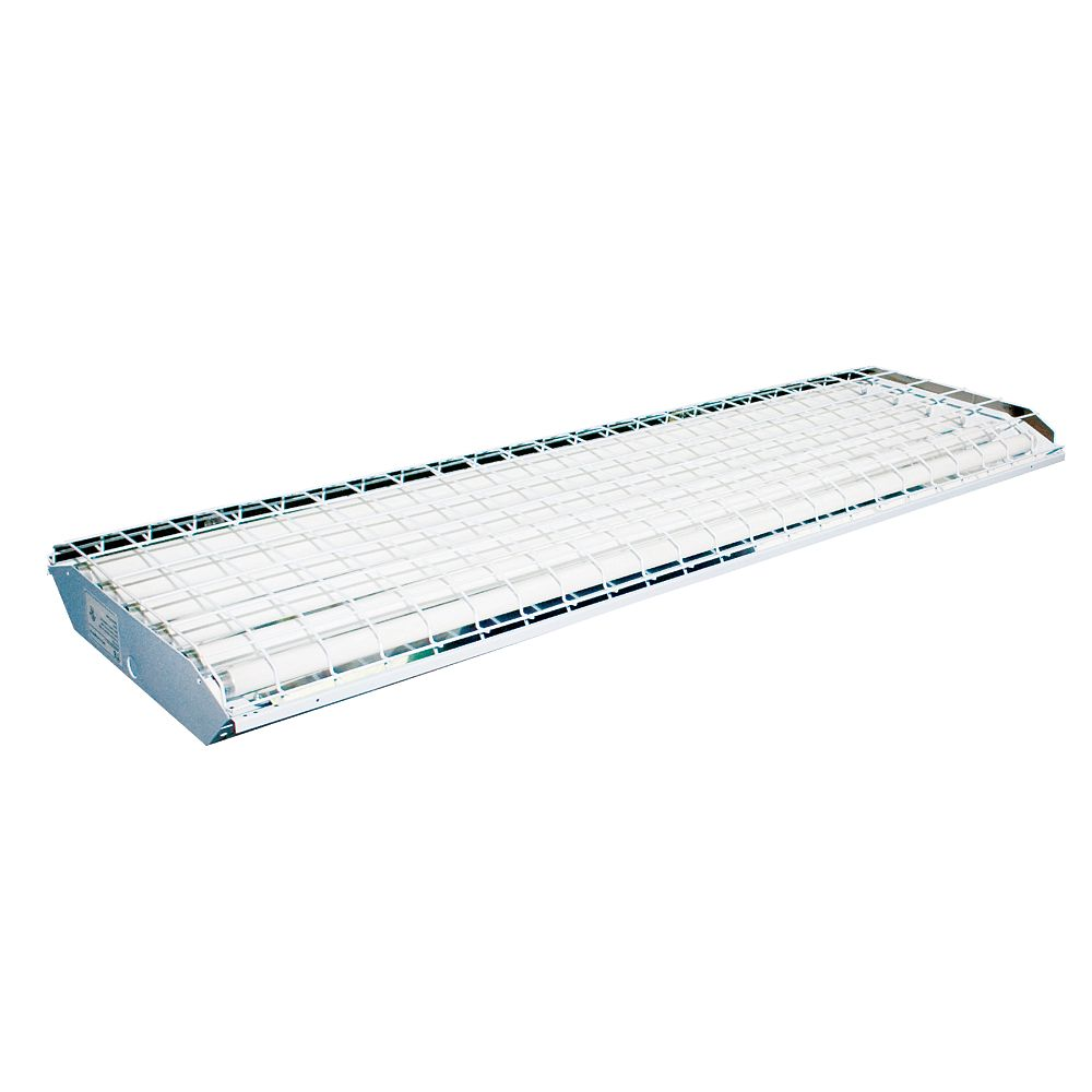 Efficient Lighting High Bay 6 Lamp T8 Fluorescent Fixture, Powder Coated White with 320G Reflector, GE ballast Included