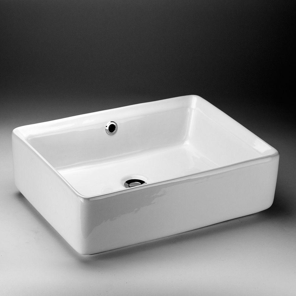 Acri-Tec 19.75-inch x 6-inch x 14.25-inch Rectangular Ceramic Bathroom Sink