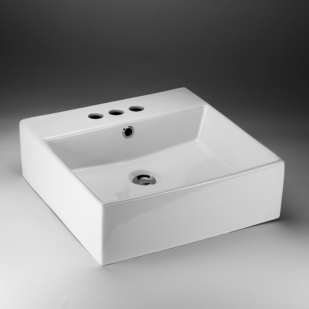 Acri-Tec 18-inch x 5.38-inch x 18-inch Square Ceramic Bathroom Sink