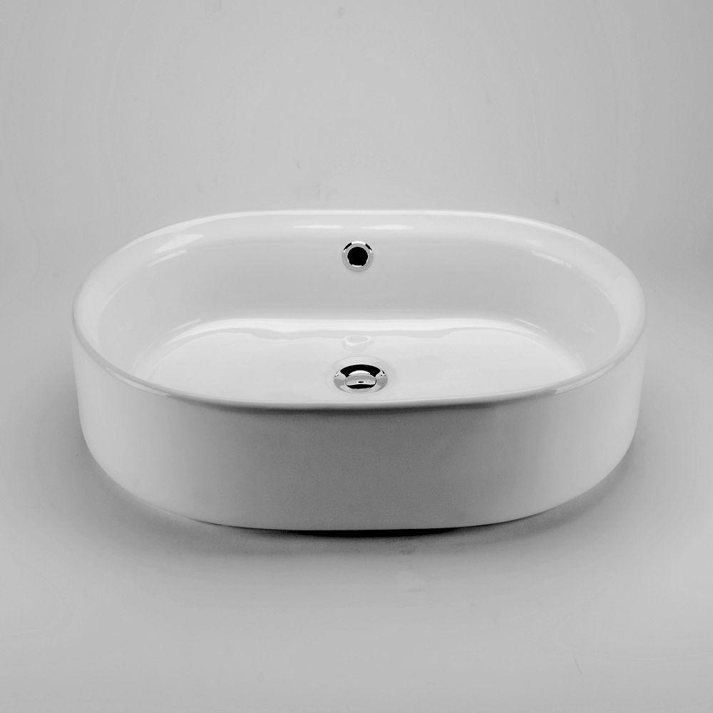 Acri-Tec 21.63-inch x 6-inch x 15-inch Curved Ceramic Bathroom Sink