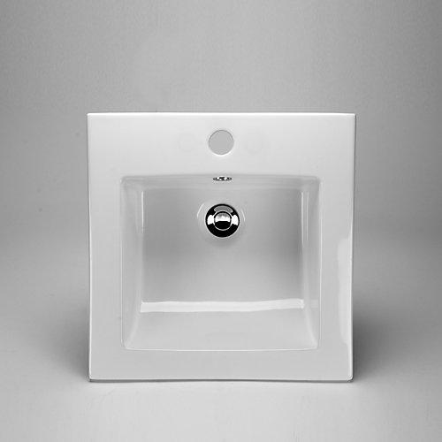 16 3/8 x 16 3/8 Ceramic Square Drop-In Sink Basin
