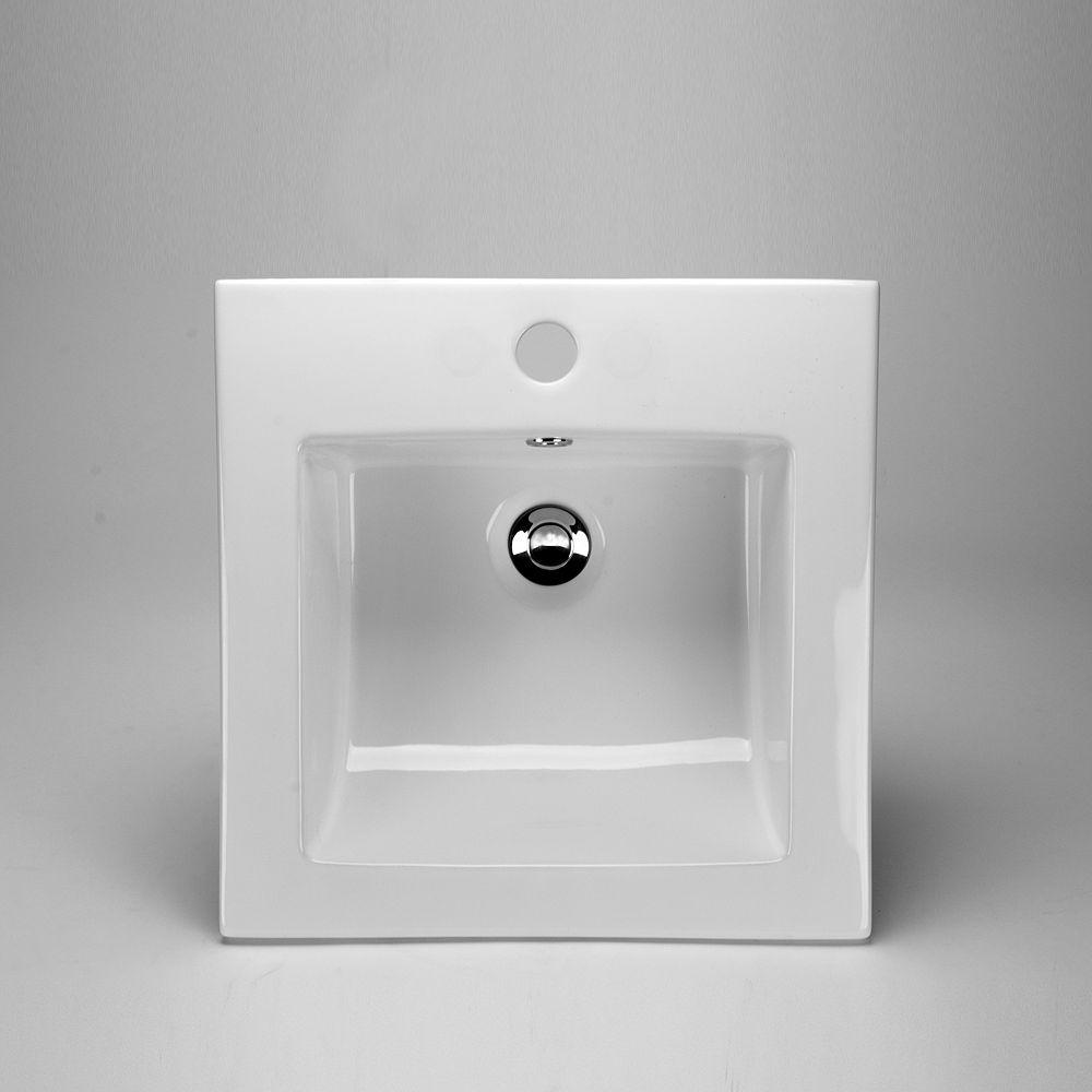 Acri-Tec 16 3/8 x 16 3/8 Ceramic Square Drop-In Sink Basin