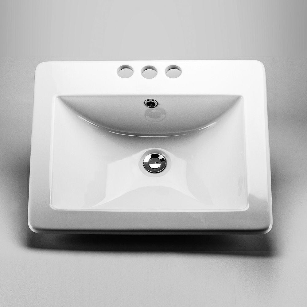 Acri-Tec 20 5/8 x 17 7/8 Ceramic Rectangular Drop-In Sink Basin